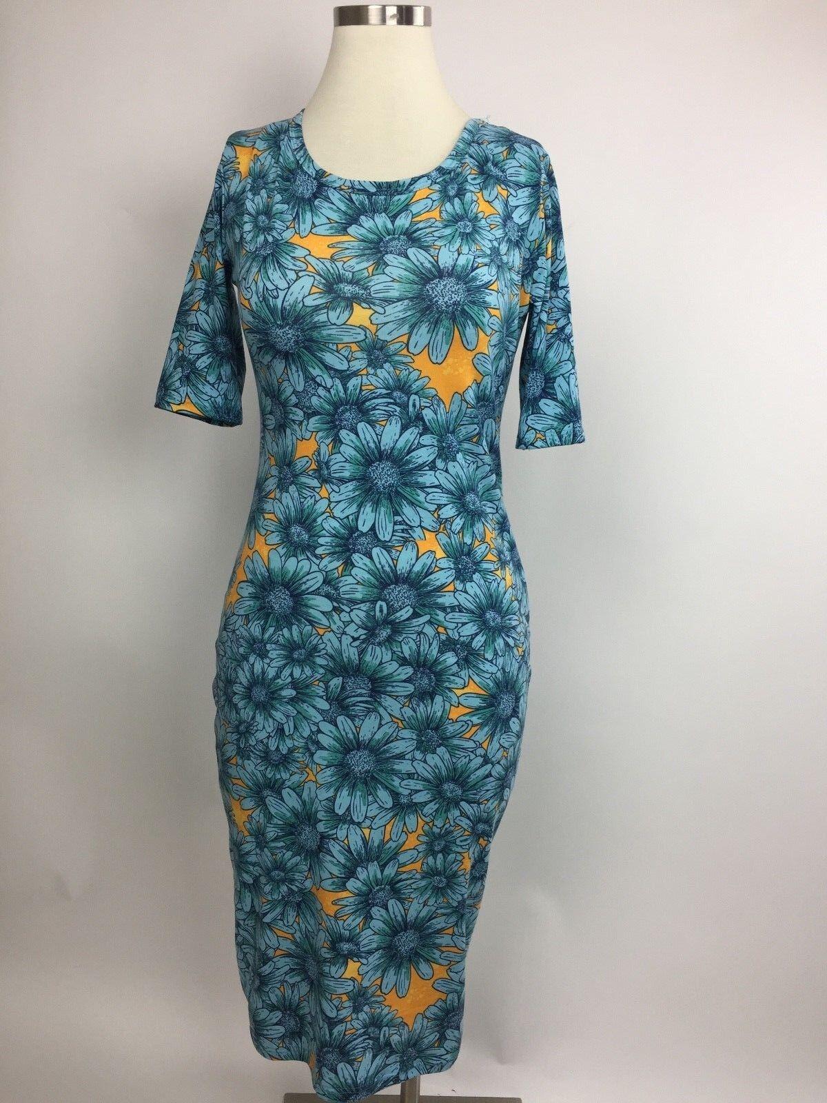 LulaRoe bluee Yellow Mod Sunflower Floral Julia Pencil Stretch Dress XS Nice