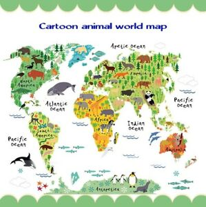 Wall animal sticker decor cartoon world map removable home kids room image is loading wall animal sticker decor cartoon world map removable gumiabroncs Images