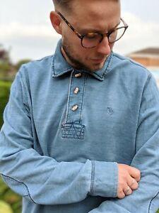 Fat-Face-M-Blue-Indigo-1-4-Button-Up-Sweatshirt-Men-039-s-Nautical-Sailing-Henley