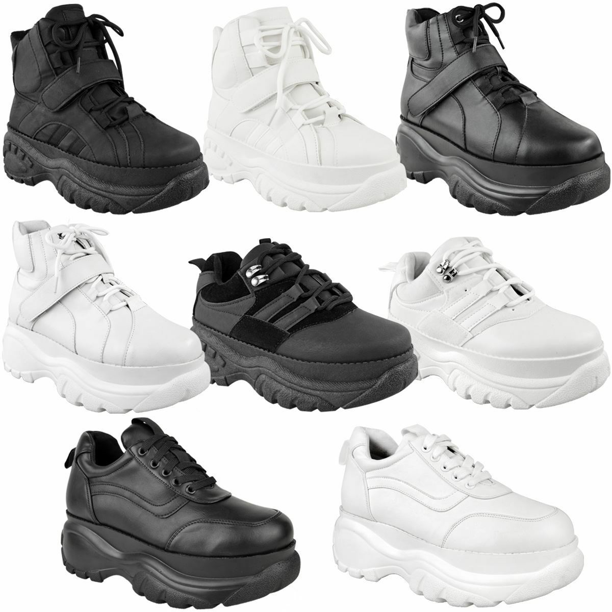Womens Ladies Lace Up Hook And Loop Chunky Trainer Hi Top Wedge Casual shoes Size