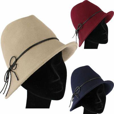 WOOL TRILBY HAT ASYMMETRIC BRIM /& CORD BOW LADIES VINTAGE STYLE CLOCHE