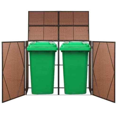 vidaXL Mülltonnenbox 2 Tonnen Poly Rattan Mülltonnenverkleidung Braun//Schwarz