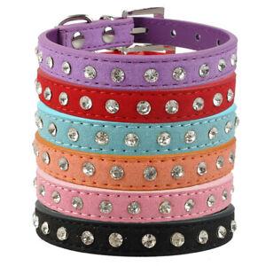 Adjustable-Fancy-Rhinestone-Cat-Dog-Collars-Faux-Leather-Pink-Blue-Black-Purple