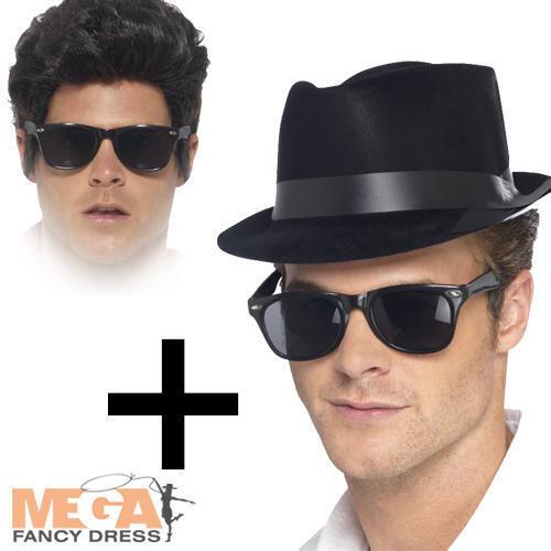 The Blues Brothers Black Glasses Fedora Hat Fancy Dress 70s Costume Mens  Kit  c5cf3bd3469