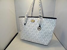 Michael Kors Jet Set Navy Blue Optic White Carryall Shoulder Tote Shopper Beach