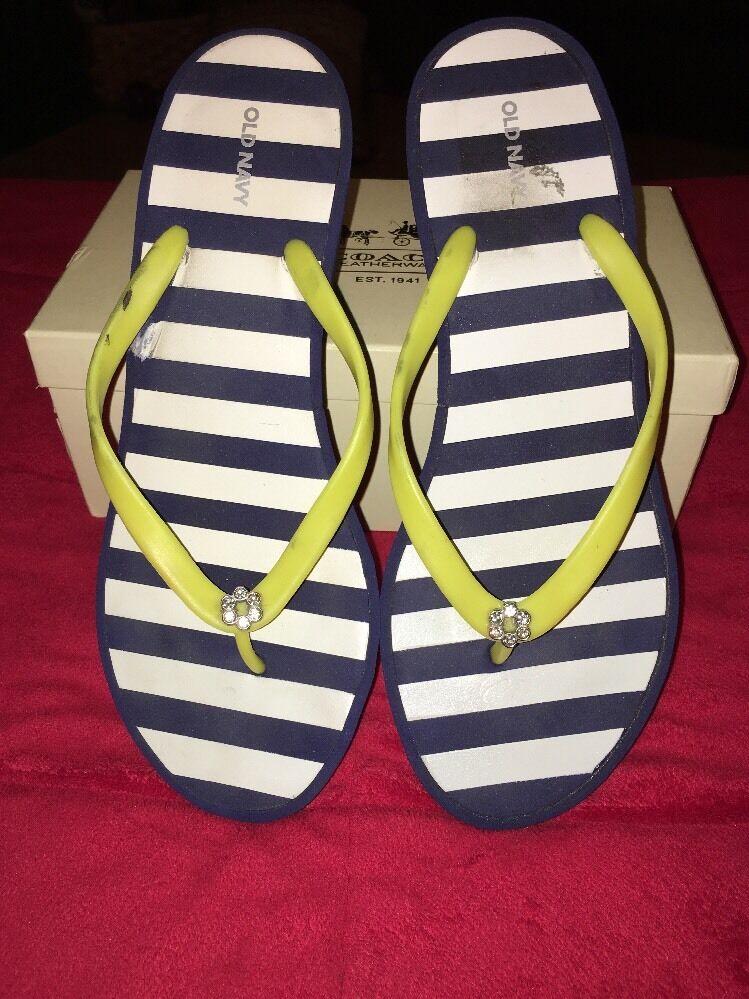Old Stripe Navy Flip Flops Thongs Sandals White Navy Stripe Old Yellow Strap SZ 9 869b7f