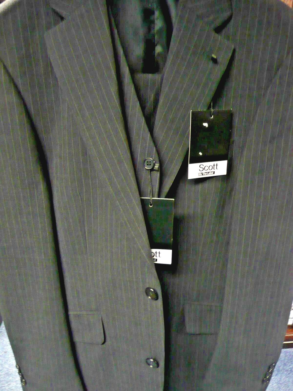 Scott by Label. Three Piece Grey Pinstripe Suit.