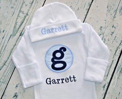 PERSONALIZED Baby Sleeper Gown and Cap Outfit Seersucker Monogram Newborn Set