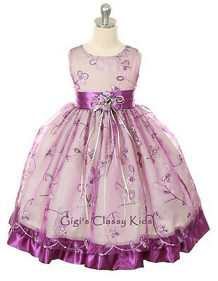 New Purple Flower Girls Dress Easter Christmas Party Graduation Pageant MK202