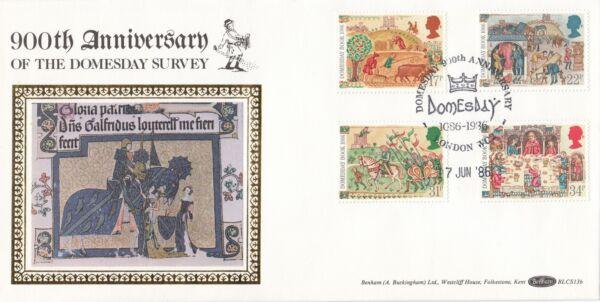 (02409) Gb Benham Fdc Blcs 13b Domesday Book London 17 Juin 1986