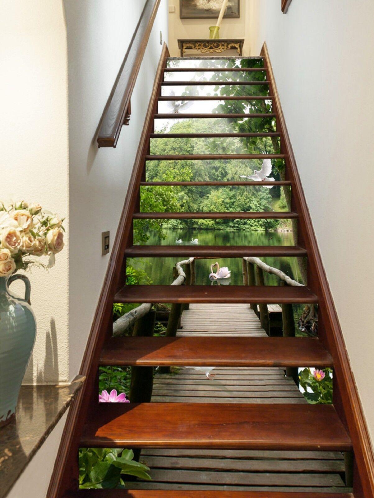 3D Bridge Lotu View Stair Risers Decoration Photo Mural Vinyl Decal Wallpaper CA