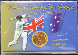 AUSTRALIA-SIR-DONALD-BRADMAN-2001-20c-GILDED-TRIBUTE-COIN-in-FOLDER