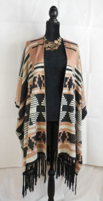 Sweater Poncho Multi Color Pink Black Cream Open Front close side Forever 21 NWT