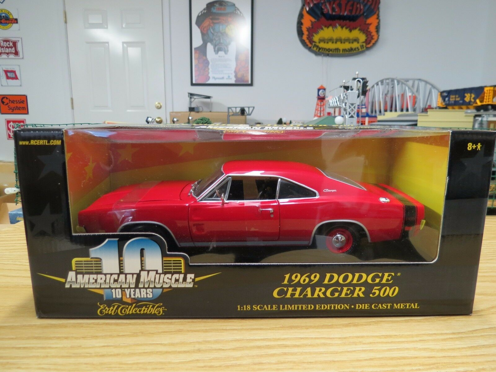 Rare Ertl American Muscle rot 1969 Dodge Charger 500 W Factory Error On Box, New