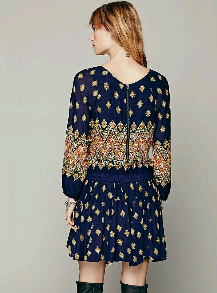 NWOT Free People Midnight Combo Multicolor Enid Dress Size Size Size XS Retails   128 6b8818