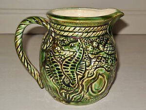 Antique-French-Majolica-PITCHER-SHELLFISH-CRAB-SEA-HORSES-SHELLS-OYSTER