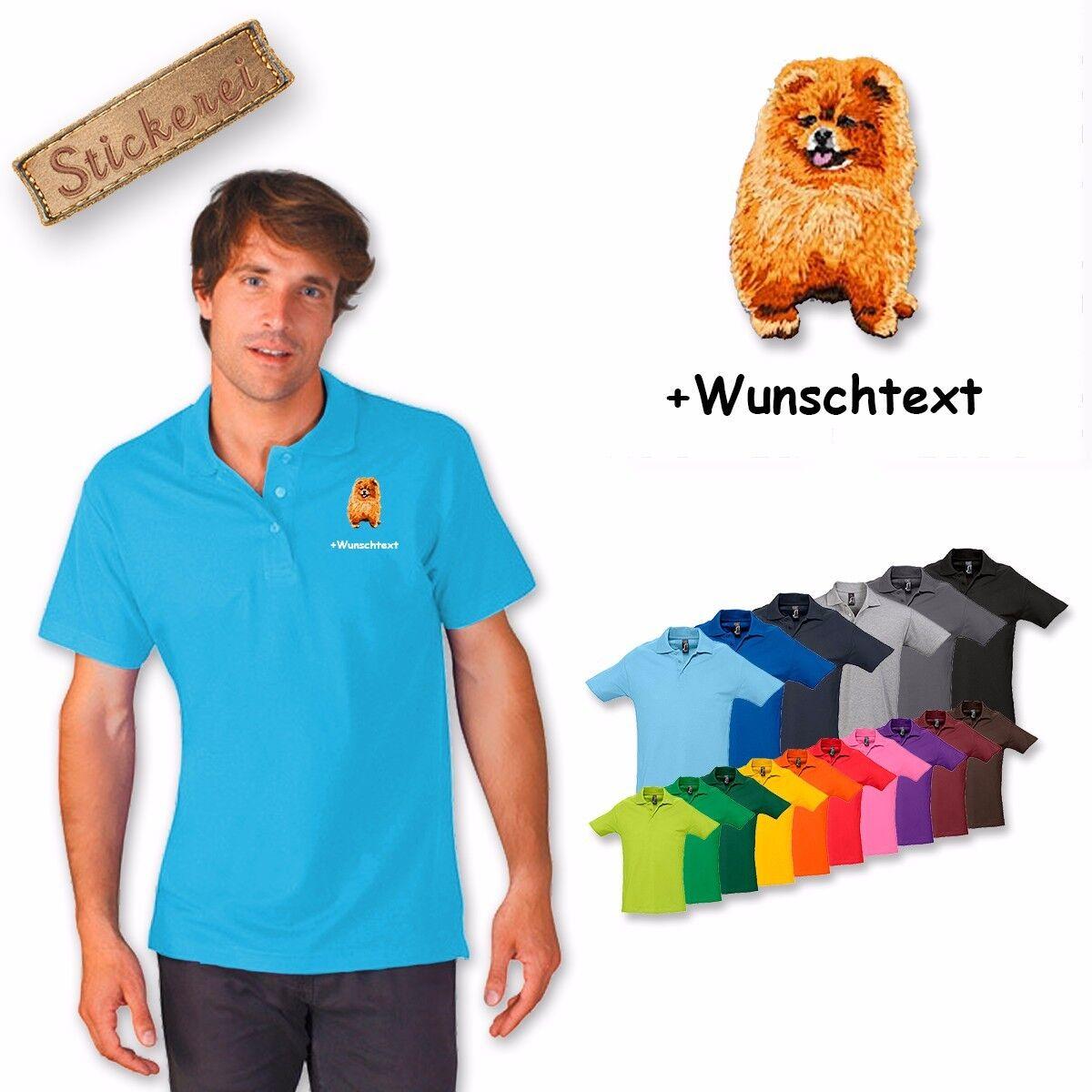 Polo camicia camicia cotone ricamo Pomerania Pomerania + testo personalizzato