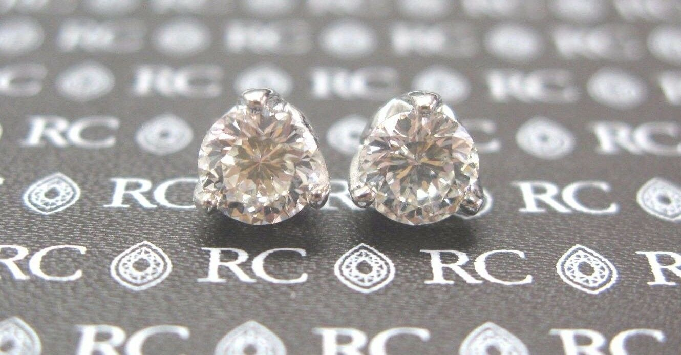 Roberto Coin 18Kt Cento Tulip NATURAL Diamond Stud Earrings 2.08Ct G-VS1