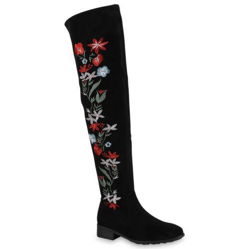 893590 Damen Overknees Stiefel Schuhe Boots Blumen New Look