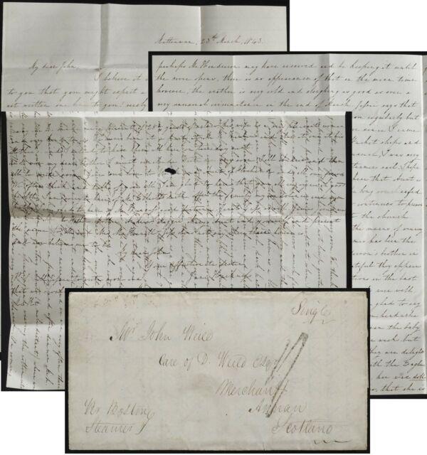 Matteawan NY(Beacon) 1843 to UK family letter Transatlantic Jane Weild Harkness