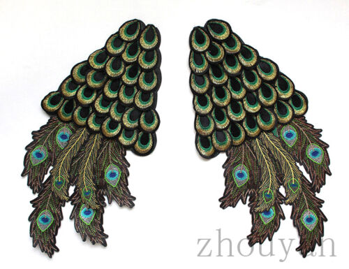 BEAUTIFUL PEACOCK WING PAIR EMBROIDERY SEW COTTON PATTCH HANDMADE APPLIQUE MOTIF