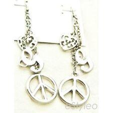 Guess Dangle Earrings G Logo Peace Sign Heart Silver tone