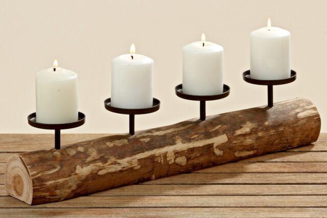 Kerzenständer Kerzenleuchter Holz mit Metall Advent Tischdeko Leuchter