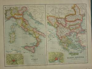 Carte Italie Balkans.1902 Ancien Carte Italie Rome Environs Sicile Toscane Des