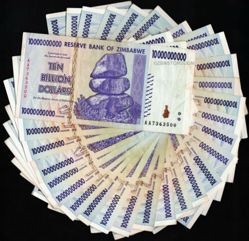 10 Billion Zimbabwe Dollars x 30 Bank Notes AA AB 2008 Currency 30PCS Collection