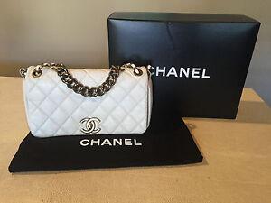 Details about CHANEL Authentic Pondicherry White Calfskin Flap Bag w/  GHW!!! Pondichery!