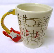 Novelty Red Electric Guitar Music Themed Coffee Cup / Stave Decal. Gift Boxed