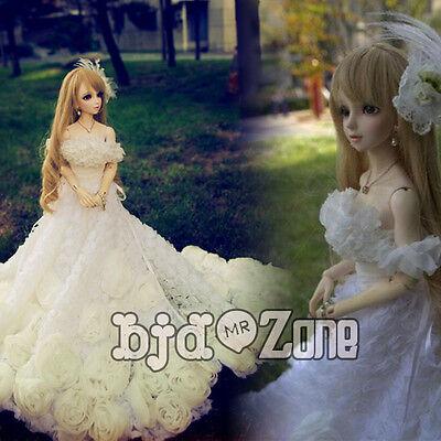 New Pure handwork  flowers Tail Wedding dress Suit(3pcs)  1//3 1//4 BJD clothes
