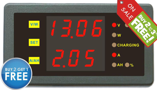 DC 120V 30A Amp Volt Combo Meter Battery Capacity Power Charge Discharge Monitor