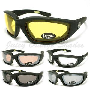 CHOPPERS-BIKER-WRAP-GOGGLE-Sunglasses-FOAM-PADDED-LINING-Soft-Matt-BLACK