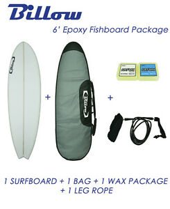 NEW-Billow-6-039-Epoxy-Fish-Surfboard-Matte-Finish-package-with-5xFCS-fins