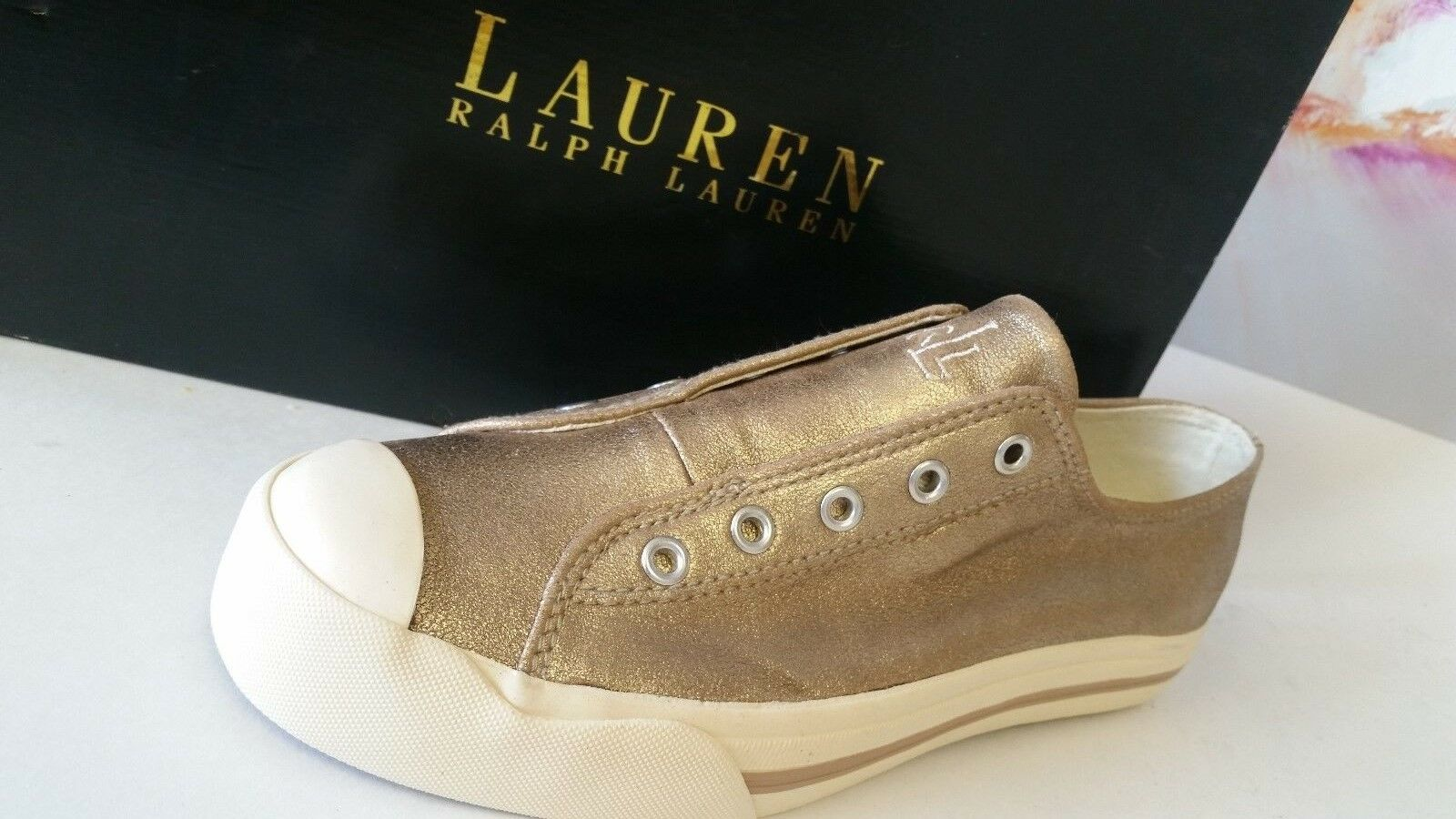 Ralph Lauren Femme Slip on vernissées or en Cuir Baskets Taille 5.5b Excellent