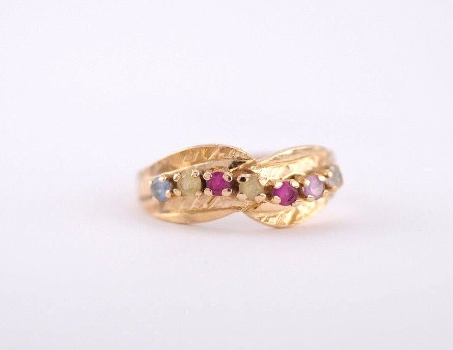 Ring Set in 14K Yellow gold  Multi - color Gemstones  Size 8.5