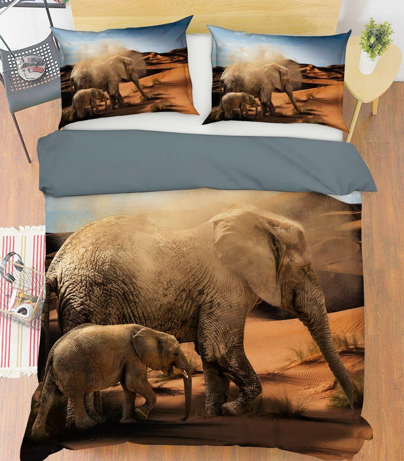 3D Elephant Desert G37 Animal Bed Pillowcases Quilt Duvet Cover Set Queen King W
