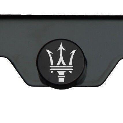Matte Black Maserati Logo Mirror Laser Etched License Plate Frame Tag Screw Cap