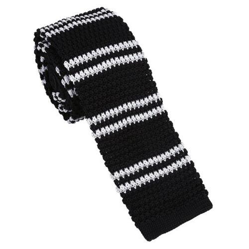 Mens Boy Knitted Knit Tie Slim Skinny Flat Tie Narrow Necktie Colourful Stripe