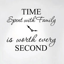 Time Spent with Family is Worth Every Second Home Wall Decal Sticker Clock Art