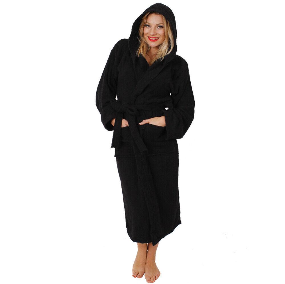 BLACK HOODED BATHROBE 100/% COTTON MENS LADIES ADULTS DRESSING GOWN TOWEL M-5XL