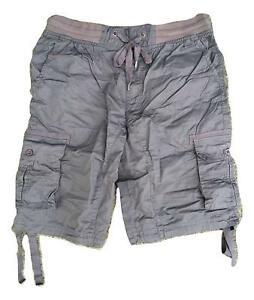 dce19ed8a2 Men's Airwalk Grey Cargo Combat Shorts with Elasticated Waistband ...