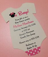 20 Pink Minnie Mouse Onesie Baby Shower Invitation - Wording Customized For You