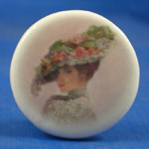 1-034-PORCELAIN-CHINA-BUTTON-VICTORIAN-LADY-IN-PINK