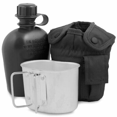 2 Pc Military Style Aluminum 1 QUART 1QT CANTEEN w BUTTERFLY HANDLE CUP NEW