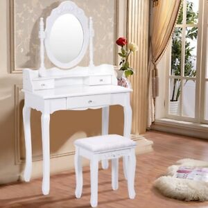 3 Drawer Mirror Vanity Makeup Dressing Table Desk Stool Set Bedroom White/Black