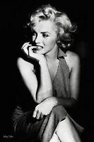 Marilyn Monroe Black And White Sitting Poster Print Pa30745