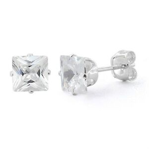 f738d5fa4 Princess Cut, CZ Sterling Silver Stud Earrings, 7mm equals 3.25 ct ...
