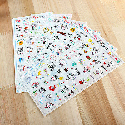 6 sheet cartoon diary Planner decorative cup photo calendar transparent stickers